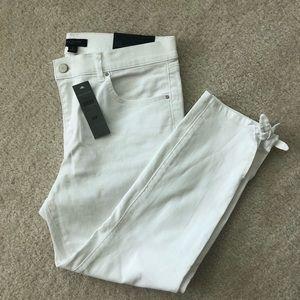 Ann Taylor 12 Petite Skinny Crop Jeans White NWT
